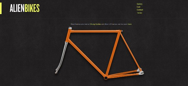 Alien Bike Frame - Minimalism in web design