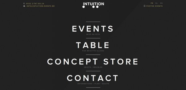 Screenshot of Intuition Events website - minimalism in web design