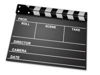 Clapper board from a film, depicting action