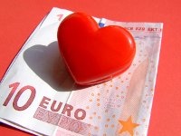 Heart paper-weight on a 10 euro note, depicting desire in marketing