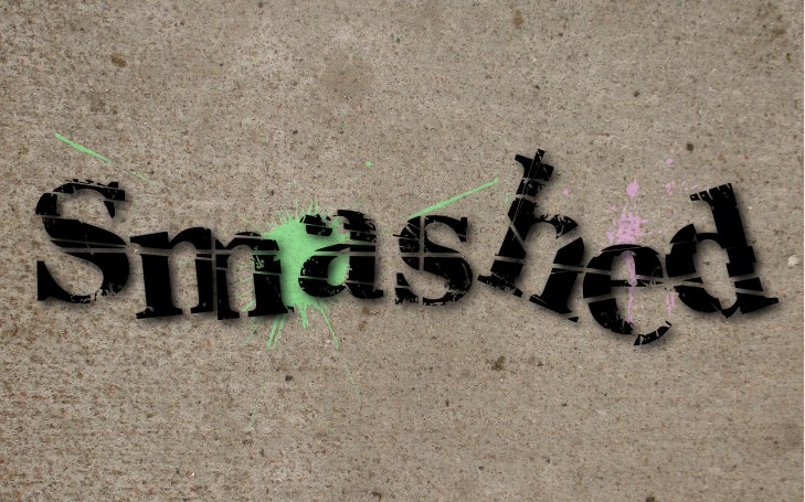 Smashed graphic design showing the word 'smashed' on concrete, as if smashed