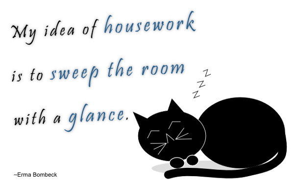 My idea of housework is to sweep the room with a glance. ~Erma Bombeck