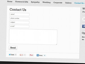 An on-the-page contact form on the Willow & Blooms website