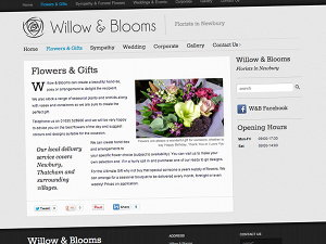 Flowers and gifts page from the Willow & Blooms Newbury website