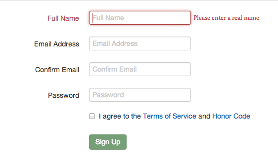 Screenshot of form asking for confirmation of email address, but not password